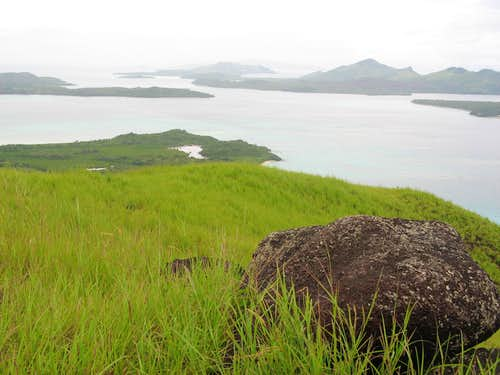 View south down the Yasawa Island chain from Neisau summit, Nacula Island, Fiji