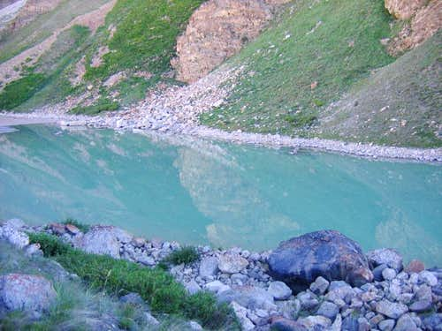 Glacial lake at Hisper Glacier, Karakoram, Pakistan