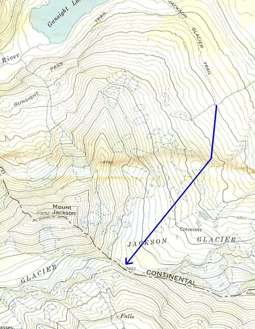 Route from Gunsight Lake
