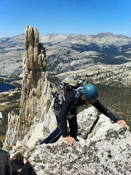 Emy Descends from Cathedral Peak