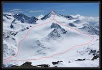 Similaun - our ascent/descent route