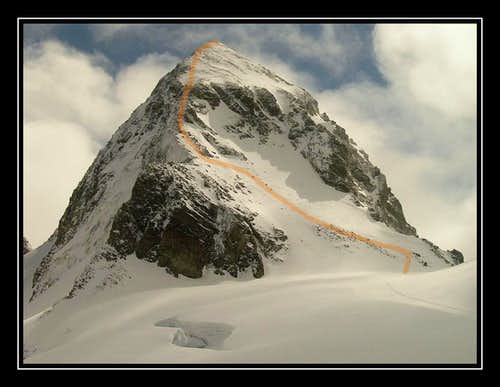 Ascent route Piz Buin
