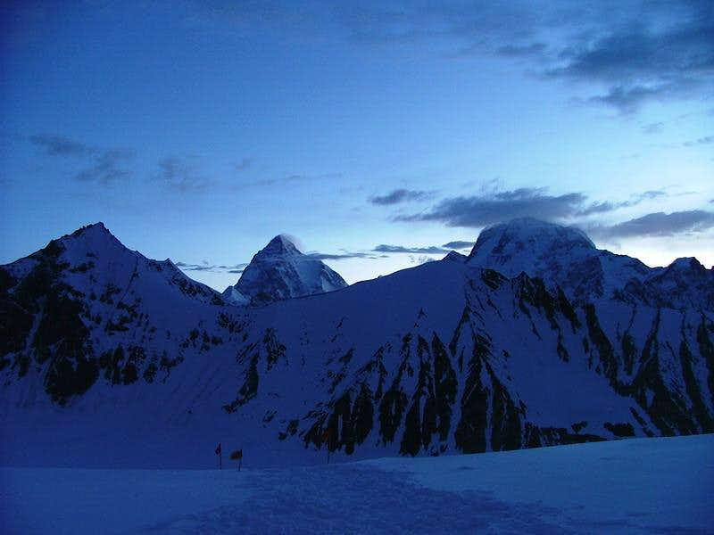 K2 (8611m), as seen from High Pass of Gondogoro la early in the morning
