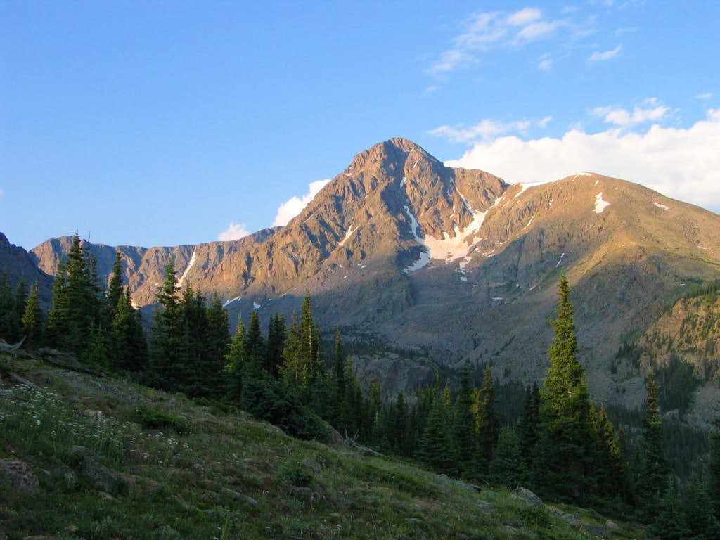 First Sight of Holy Cross on North Ridge Route