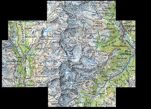Corno Bianco. Detailed Map.