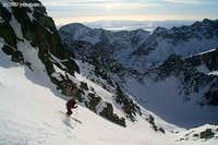 Skiing down from Maly Ladovy stit