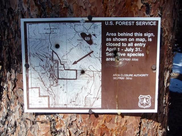 Rams Horn Mountain Closure Sign