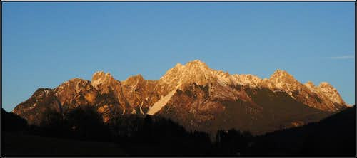 Alpenglow in the Carnic Alps