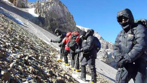 Scree climb below the Canaleta