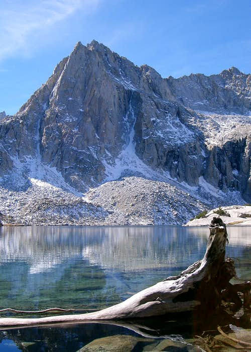 Picture Peak and a Log in Waters of Hungry Packer Lake