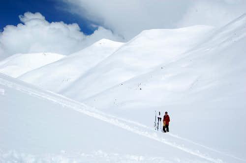 Skiing Redcloud Peak