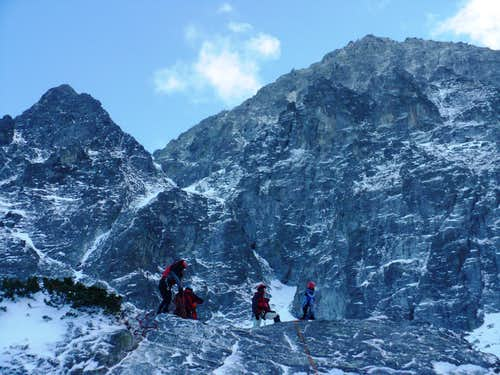 Climbing training under the 900 meters high north wall