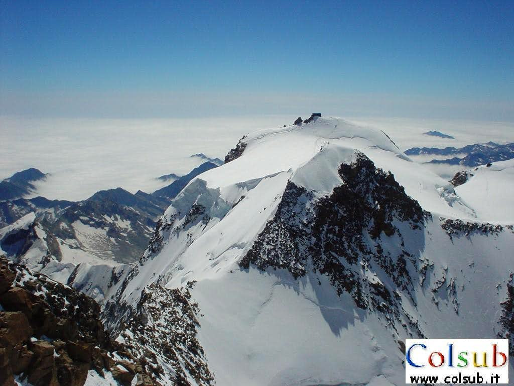 Refuge Regina Margherita from summit of Dufour