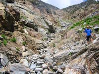 A view up the gully we descended