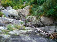 Climbing the waterfall aproaching Leigh Lake