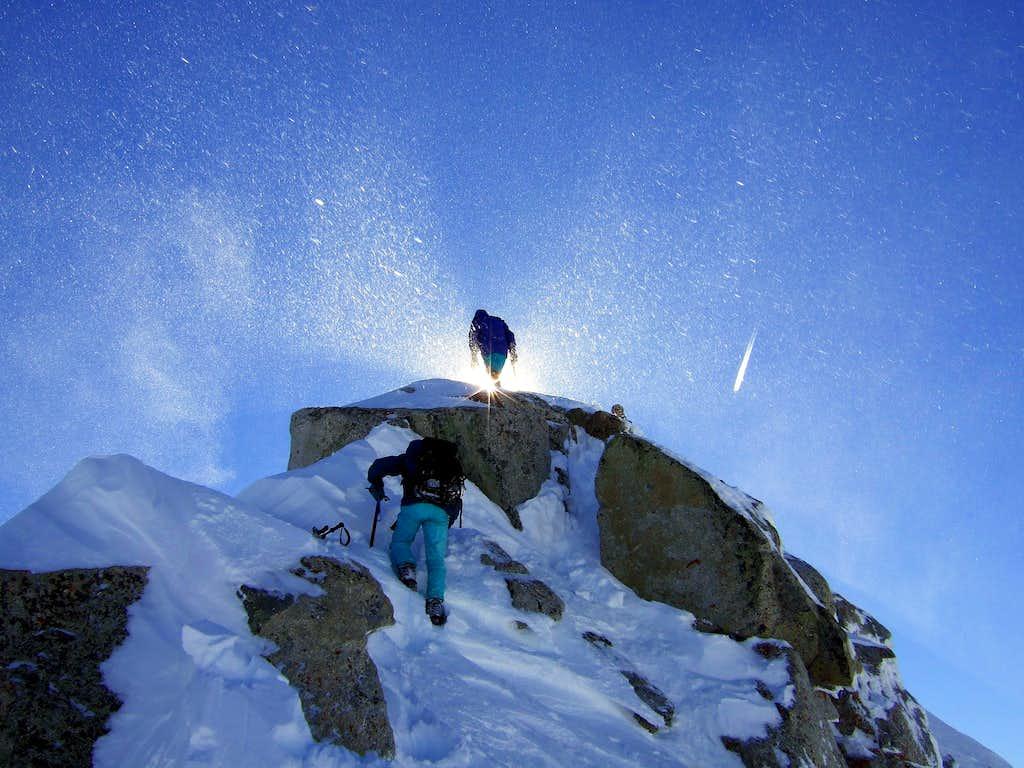 Last steps to the top of Lone Peak