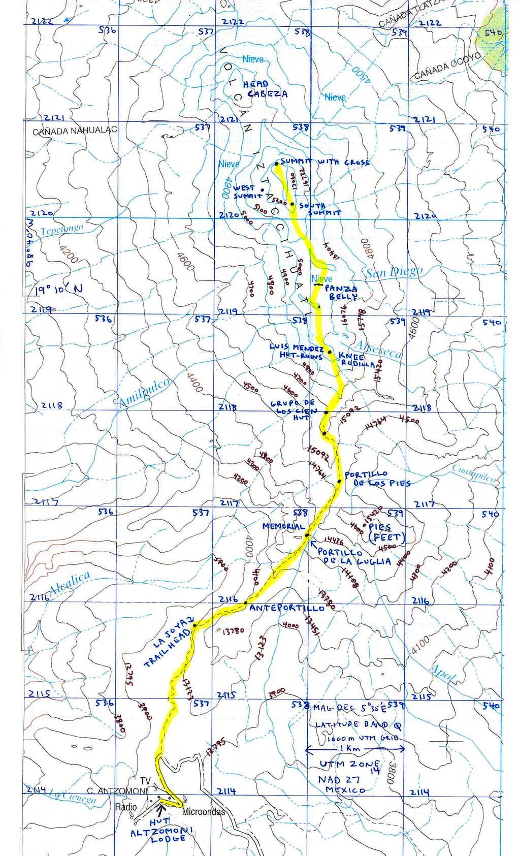 Iztaccihuatl Map