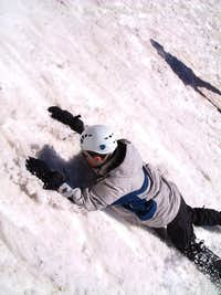 roel in the snow trying to stop
