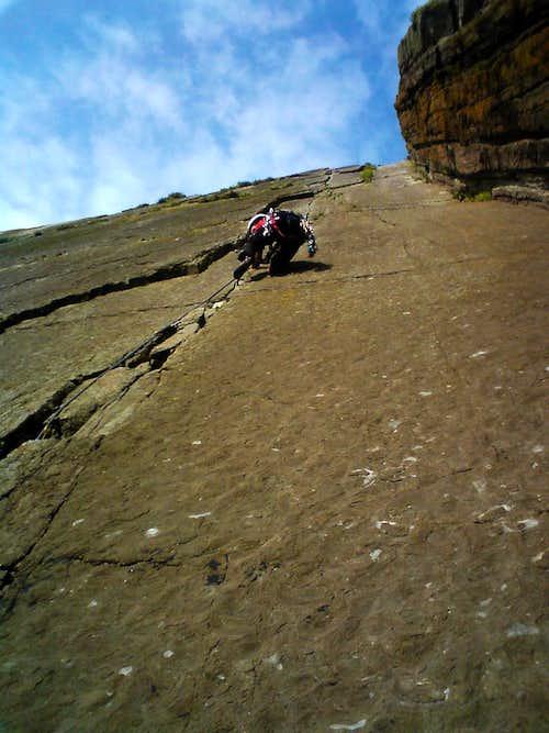 Trad climb in the UK