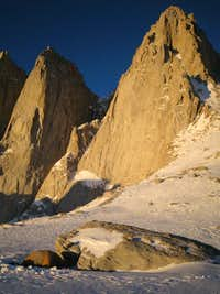 Mount Whitney looming above our tiny tent.