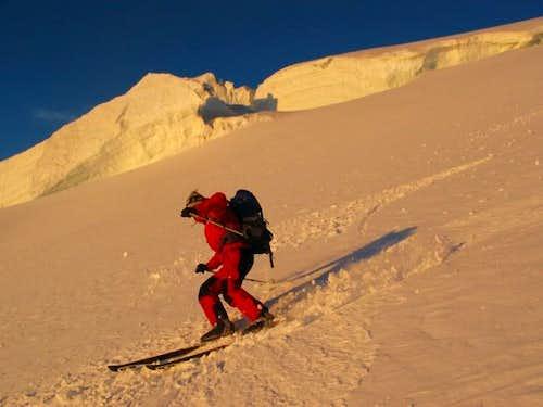 Skiing down is definitelly...