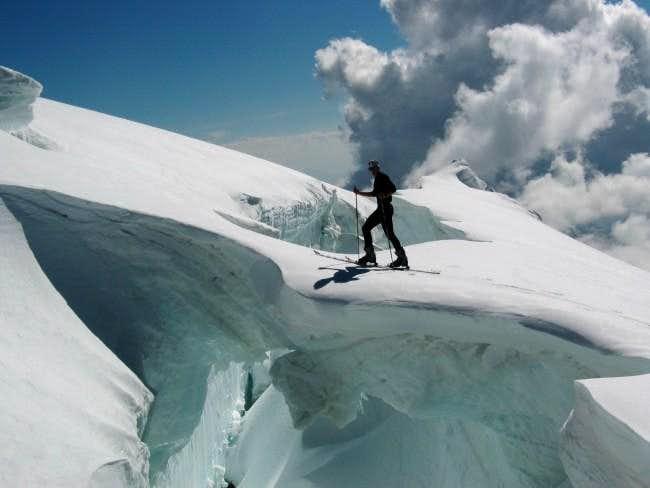 over the crevass