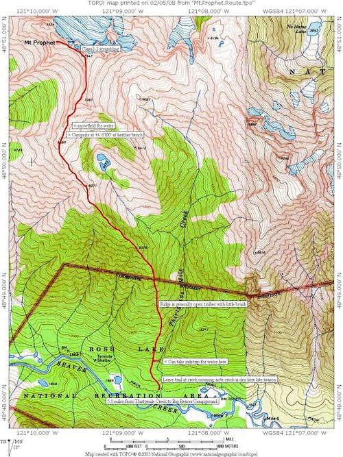 Mt. Prophet route map