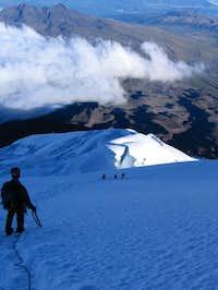 Descending the upper slopes...
