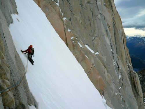 Manuel Heads Into Couloir Amy