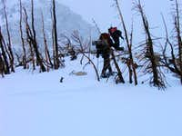 Winter maneuvering to reach the ridge access...