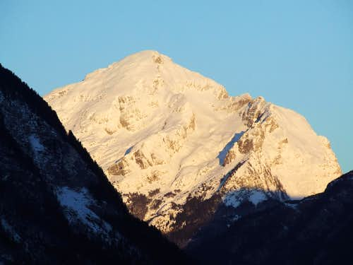 First sunlight on Rombon ( 2208 m ) ...