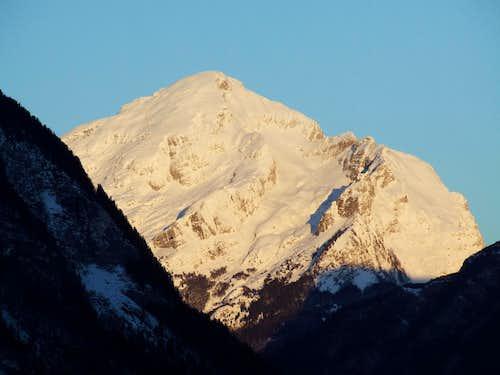 First sunlight on Rombon ( 2208 m ) ...