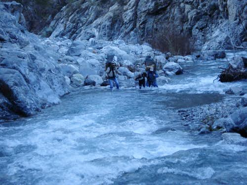 Prospectors crossing River