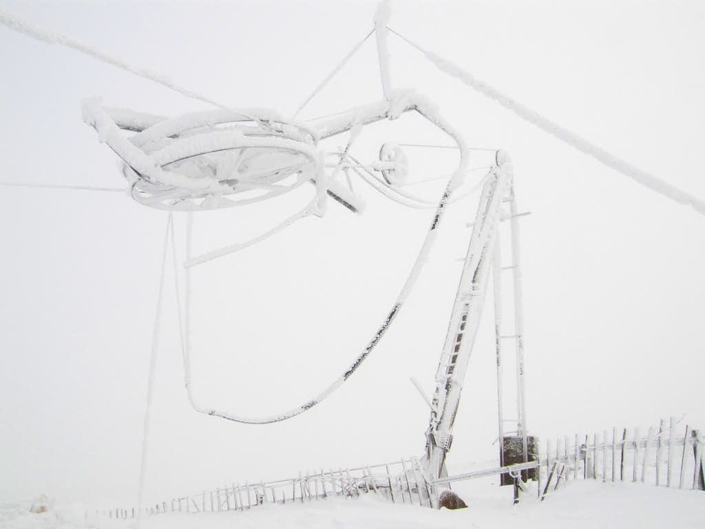 Ice covered ski lift