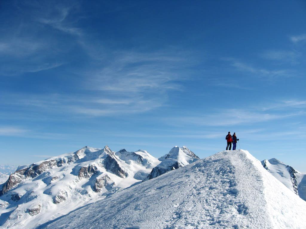 On the summit of the Breithorn