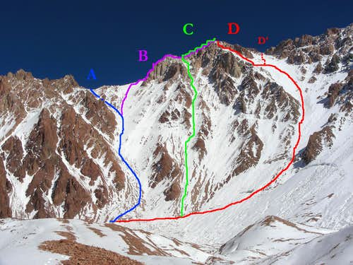 Known routes on the SSE face of Agustin Alvarez (see caption for description)