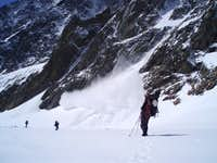 Avalanche in the massif Mont Blanc