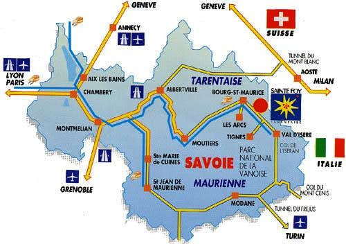 Access map to Sainte Foy...