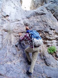 Scrambling up a dryfall