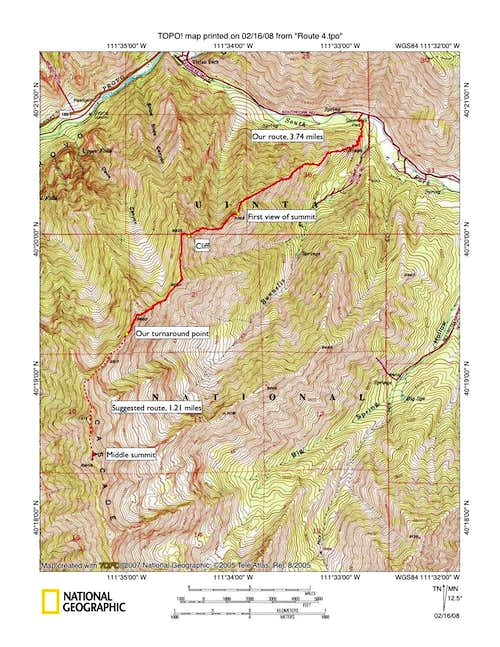 Northeast ridge route map