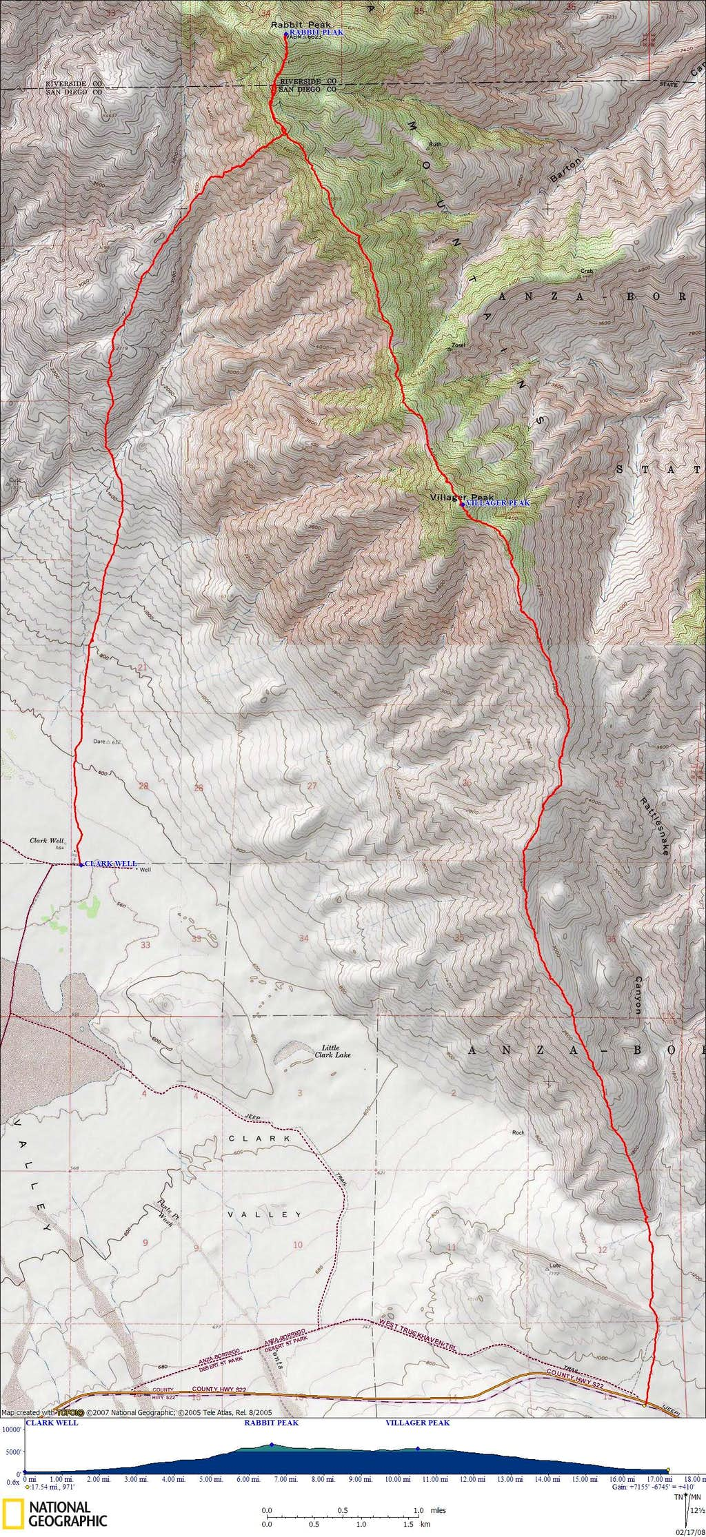 Rabbit and Villager Route Topo Map
