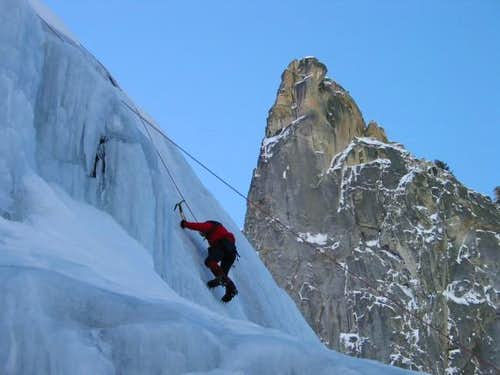 Climbing the waterfall ice of...