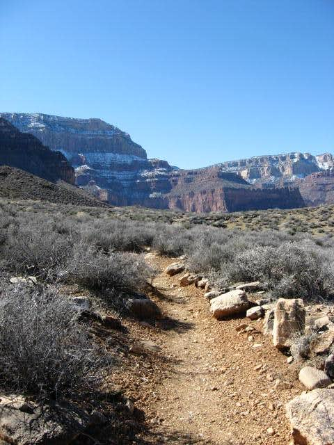 Tonto Trail with South Rim in background, Grand Canyon