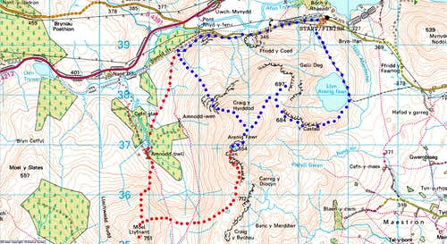 Arenig Fawr main page Route Map