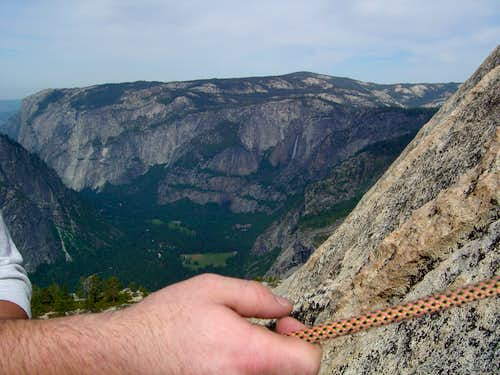 Belay w/ Valley In Background