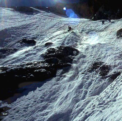 Skiing Goell east face, upper...