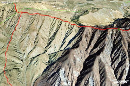 Rabbit and Villager Peaks google earth image