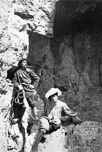 Beatrice Tomasson and her guide, Arcangelo Siorpaes, in the Cortina Dolomites, 1898