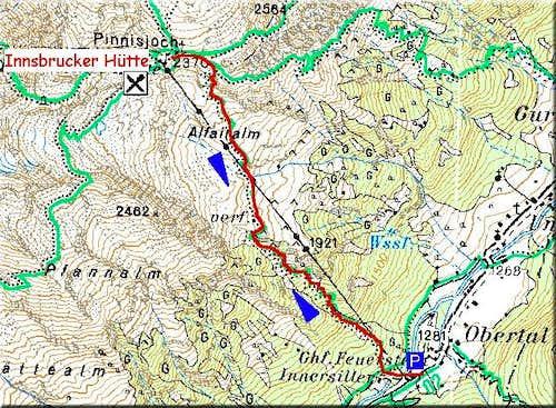 Access to Innsbrucker Hut...
