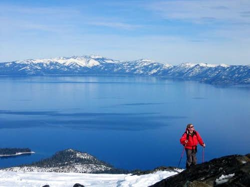Cresting the top of Tallac\'s...